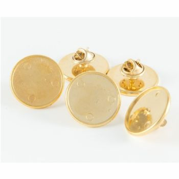 Premium Badge Blank round 18mm gold clutch and clear dome